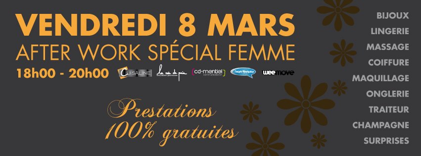 vendredi 8 mars un afterwork 100 f minin chez cuisaline montauban l 39 occasion de la journ e. Black Bedroom Furniture Sets. Home Design Ideas